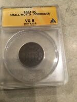 1864 KEY SMALL MOTTO TWO CENT PIECE ANACS VG-8 DETAILS FREE SHIP USA