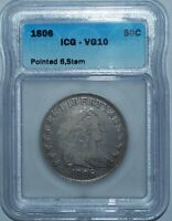 1806 ICG VG10 POINTED 6 WITH STEM O-116 T-20 R.3 DRAPED BUST HALF DOLLAR