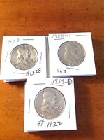 FRANKLIN SILVER HALF DOLLARS LOT OF 3 1957 D 1958 D & 1959 D NICE SILVER COINS