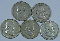 5   1951 P FRANKLIN SILVER CIRCULATED HALF DOLLARS  $2.50 FACE VALUE