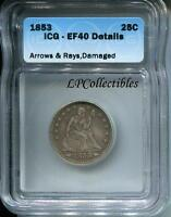 1853 LIBERTY SEATED SILVER QUARTER ARROWS & RAYS ICG EF40 DETAILS