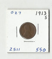 1913 S LINCOLN WHEAT CENT -  027