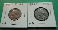 1982 P&D CIRCULATED WASHINGTON QUARTERS  2  HOLE FILLERS