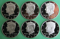 2010 2011 2012 2013 2014 2015 S PROOF KENNEDY HALF DOLLAR FIFTY CENTS 6 COIN LOT