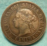 1876 XF AU HIGH GRADE CANADA LARGE CENT VICTORIA COIN NO RES CANADIAN