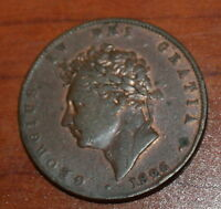 GREAT BRITAIN 1/2 PENNY 1826  COPPER  1/2P HALF GEORGE IV BRITANNIA.