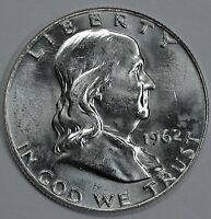1962 D FRANKLIN UNCIRCULATED SILVER HALF DOLLAR BU SEE STORE FOR DISCOUNTSBL01