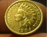 AWESOME 24 K GOLD PLATED ORIGINAL 1904 INDIAN PENNY