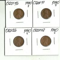 FOUR BETTER DATE 1930 S LINCOLN WHEAT CENTS - 'S 082171, 58, 76, 26