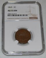1865 2C TWO CENT GRADED BY NGC AS AU55