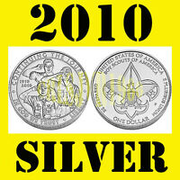 2010 BOY SCOUTS OF AMERICA COIN SILVER DOLLAR UNCIRCULATED US MINT BOX W/COA