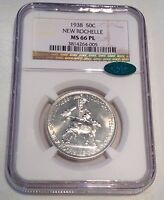 1938 NEW ROCHELLE COMMEMORATIVE 50C NGC CAC MS66 PL:  CERTIFIED AS PROOF LIKE