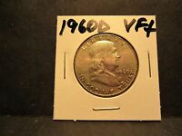 90 SILVER  1960D FRANKLIN HALF DOLLAR FINE 30  CONDITION TONED NO DEFECTS