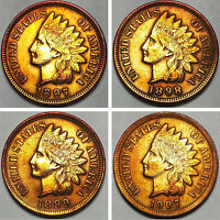 INDIAN HEAD CENTS 1897 1898 1899 1907 FULL