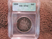1858 SEATED LIBERTY HALF DOLLAR ICG VF30 PROBLEM FREE 50 C NICE EXAMPLE