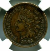 1864 L INDIAN HEAD BRONZE CENT NGC XF 45 BN