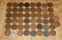LOT OF 50  CULL INDIAN HEAD CENTS /PENNIES 1800S 1900S OLD US COINS  1A