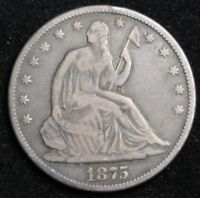 1875 SEATED LIBERTY SILVER HALF DOLLAR OLD US SILVER COINS E175