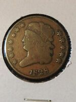 HARD TO FIND 1828 CLASSIC HEAD HALF CENT 12 STAR VARIETY C 2 IN VG