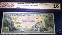 SEAMAIDENS & MYTHOLOGY R BANKNOTE .$20 1935 CANADIAN BANK OF COMMERCE