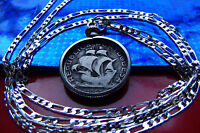 PORTUGAL SILVER SAILING SHIP COIN PENDANT ON A 30