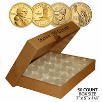 50 SUSAN B. ANTHONY DIRECT FIT AIRTIGHT 26MM COIN CAPSULE HOLDER QTY: 50 W/ BOX