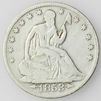 1853 O NEW ORLEANS MINT SEATED LIBERTY HALF DOLLAR LARGE SILVER COIN [2258.01]