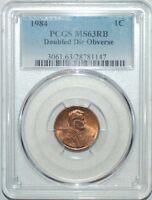 1984 PCGS MS63RB 1C DOUBLED DIE OBVERSE DOUBLE EAR FS 101 LINCOLN CENT