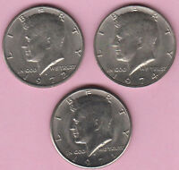 HALF DOLLAR LOT OF CIRCULATED KENNEDY HALVES 1971D 1972D AND 1974P