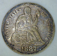 1887 SILVER SEATED LIBERTY DIME UNITED STATES 10 CENTS TYPE COIN FINE R