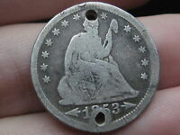 1853 SILVER SEATED LIBERTY QUARTER  ARROWS AND RAYS  HOLED TWICE BUTTON?