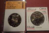 1993 S PROOF KENNEDY HALF DOLLAR IN A PLASTIC CASE 1993 D CHOICE UNC  05366