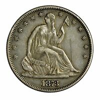 1873 SEATED LIBERTY HALF DOLLAR NO ARROWS CLOSED 3 LARGE SILVER COIN [2732.04]