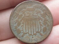 1869 TWO 2 CENT PIECE-  DATE- VG/ GOOD DETAILS