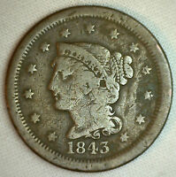 1843 BRAIDED HAIR LARGE CENT COPPER US COIN G R