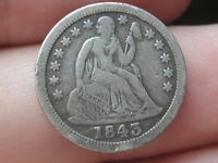 1843 SEATED LIBERTY DIME  VG/FINE DETAILS