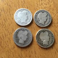 LOT OF 4 BARBER DIMES 10C SILVER COINS 1902 1910 1906 1899