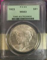 1923 $1 PEACE DOLLAR MS63 / 7528900 OLD GREEN HOLDER