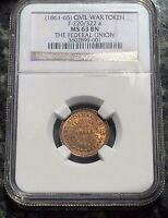 1861 1865 CIVIL WAR TOKEN F 220/320A THE FEDERAL UNION NGC MS63BN : SOME REDS
