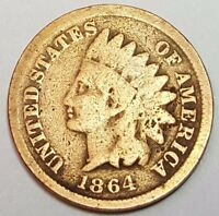 VG 1864 WITH L ON RIBBON US INDIAN HEAD PENNY CENT 1864L