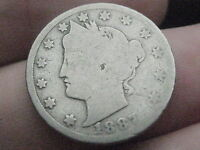 1887 LIBERTY HEAD V NICKEL  GOOD DETAILS FULL DATE
