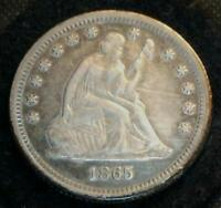 PREMIUM EF 1865 LIBERTY SEATED QUARTER DOLLAR .. RUSSET AND ELECTRIC BLUE TONING