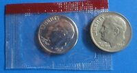 1989 P,D ROOSEVELT DIMES FROM A MINT SET ,D IS IN THE ORIGINAL MINT WRAPPER