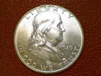 BRILLIANT UNCIRCULATED U.S. COIN1949 P FRANKLIN SILVER HALF DOLLAR BU BR64