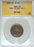 1867 ANACS EXTRA FINE 40 FS-101 DOUBLED DIE OBVERSE 2C 2 CENT PIECE