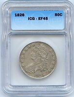 1826 50C CAPPED BUST HALF DOLLAR. ICG GRADED EF 45. LOT1791