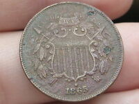 1865 TWO 2 CENT PIECE- CIVIL WAR TYPE COIN- FINE/VF DETAILS- WE SHOWING