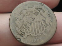 1865 TWO 2 CENT PIECE- CIVIL WAR COIN- COUNTERSTAMPED