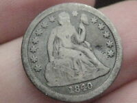 1840 SEATED LIBERTY DIME WITH DRAPERY  KEY DATE