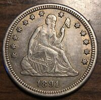 1891 S LIBERTY SEATED 25C QUARTER